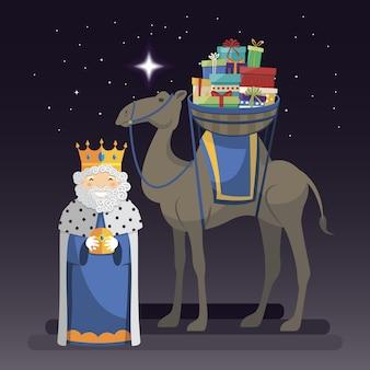 Drie koningen dag met koning melchior, kameel en geschenken in de nacht