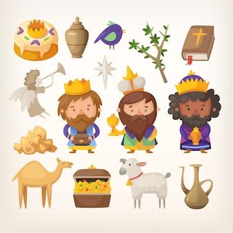 Drie koningen en kleurrijke elementen voor epiphany-dag