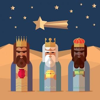 Drie koningen met vlakke stijl