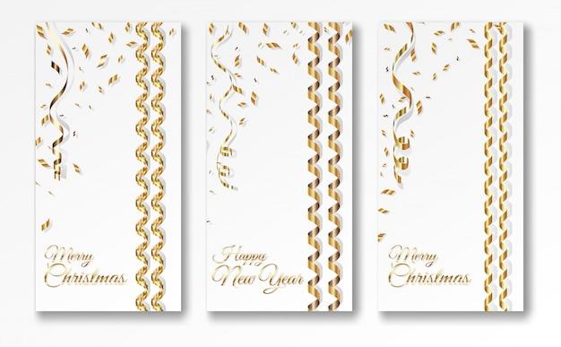 Drie kronkelige kerst banner sjablonen