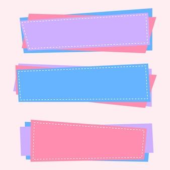 Drie lege banners in zachte kleuren
