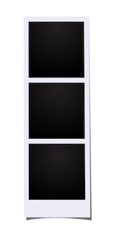 Drie lege frames fotocabine afbeeldingen geïsoleerd op een witte achtergrond.