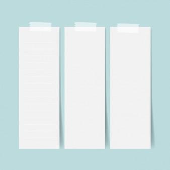 Drie lege vellen papier