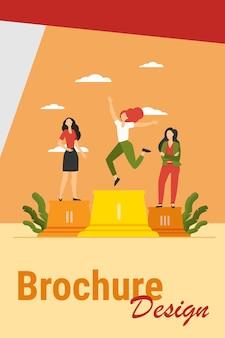 Drie leiders staan op het podium. winnaar viert succes, tweede en derde plaats platte vectorillustratie. competitie, prijs, succesconcept
