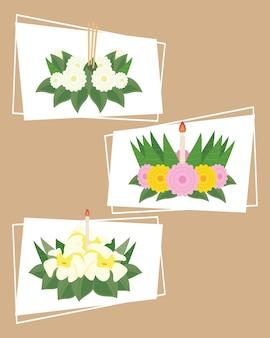 Drie loy krathong-decoraties