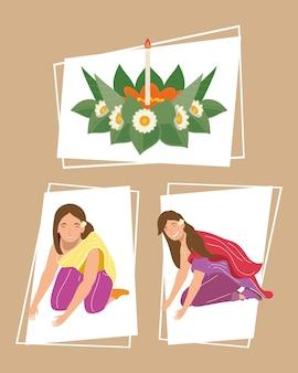 Drie loy krathong-pictogrammen