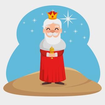 Drie magische koningen melchor cartoon