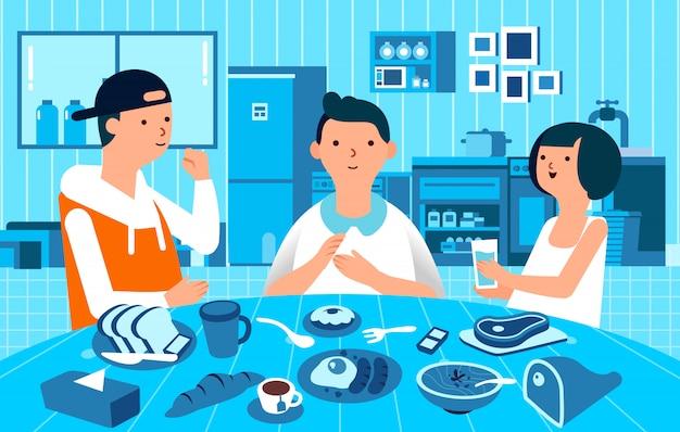 Drie man karakterman en vrouwen ontbijten samen, voedsel op de lijst en zwart-wit keuken als achtergrondillustratie