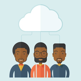 Drie mannen onder de wolk.