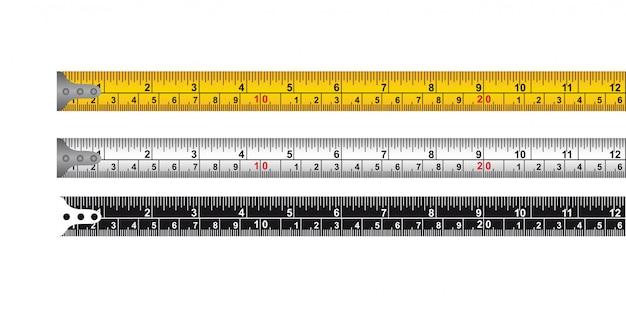 Drie meetlint geïsoleerd over witte achtergrond vector