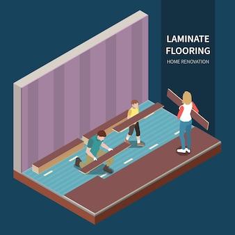 Drie mensen die de isometrische illustratie van de huisvernieuwing doen