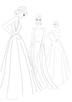 Drie modellen in couture jurken schets