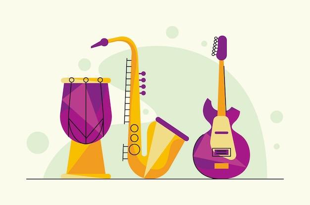 Drie muziekinstrumenten