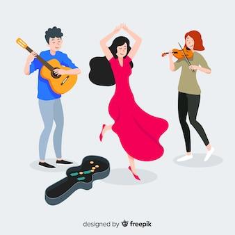 Drie muzikanten spelen gitaar, viool en dansen op straat