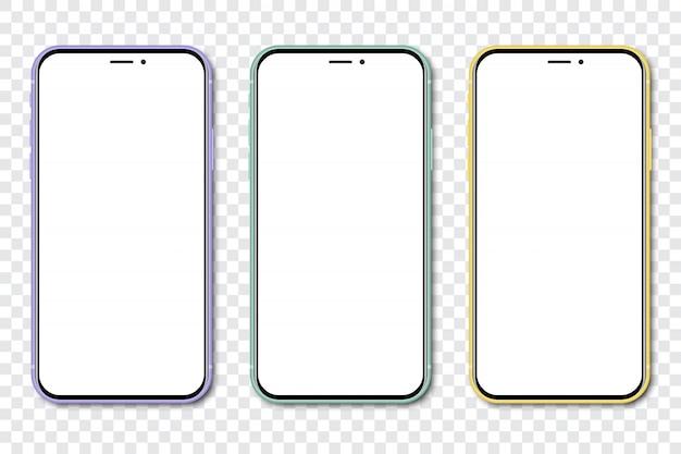 Drie nieuwe smartphone met een leeg scherm op een transparante