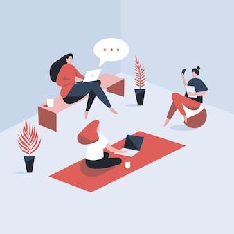 Drie ontspannen vrouwen praten met elkaar. twee werken op de laptop en de andere luistert. illustratie in cartoon-stijl.