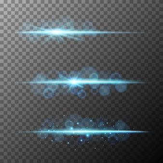Drie ontwerpen van blauwe straalverlichting