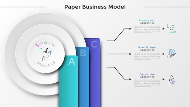 Drie papieren witte cirkels en kleurrijke rechthoekige elementen met letters, plaats voor tekst en lineaire symbolen. concept van 3 stadia van bedrijfsgroei. infographic ontwerpsjabloon. vector illustratie.
