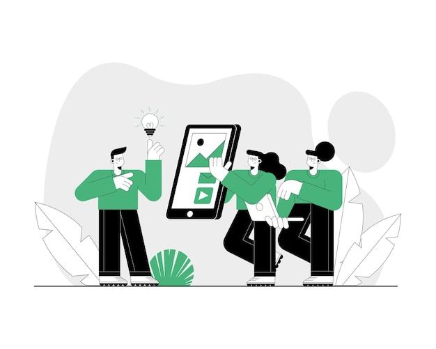 Drie personen die technologie online karakters gebruiken