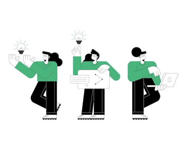 Drie personen die technologiekarakters gebruiken