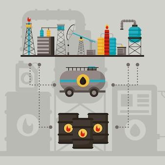 Drie pictogrammen voor de olie-industrie