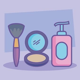 Drie pictogrammen voor schoonheidsproducten