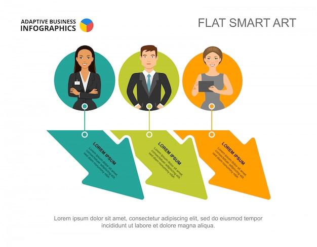 Drie pijlen werken proces grafieksjabloon voor presentatie. visualisatie van bedrijfsgegevens.