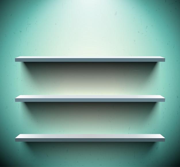 Drie planken op blauwe muur