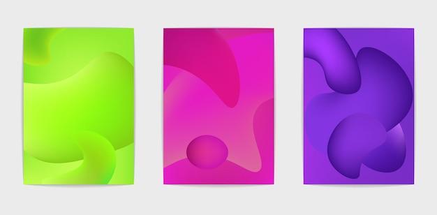 Drie postersjablonen. trend levendige kleuren. set van moderne abstracte vloeibare achtergronden. abstracte dekking, spandoek, poster, boekje. heldere hellingen. vector geïsoleerde eps 10