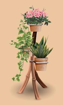Drie potten met bloemen op een speciale houten verticale standaard.