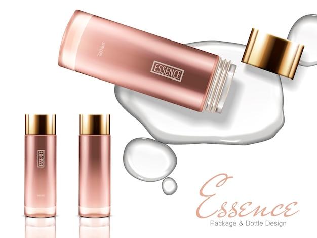 Drie roze glazen flessen met gouden doppen één open