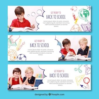 Drie rug naar school banners met afbeelding