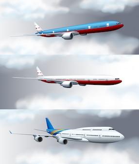 Drie scèneachtergronden met jets die in hemel vliegen