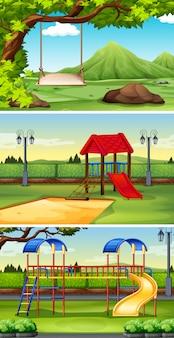 Drie scèneachtergronden van park en speelplaats