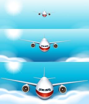 Drie scèneachtergronden van vliegtuig die in de hemel vliegen
