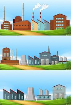 Drie scènes met fabrieken in het gebied