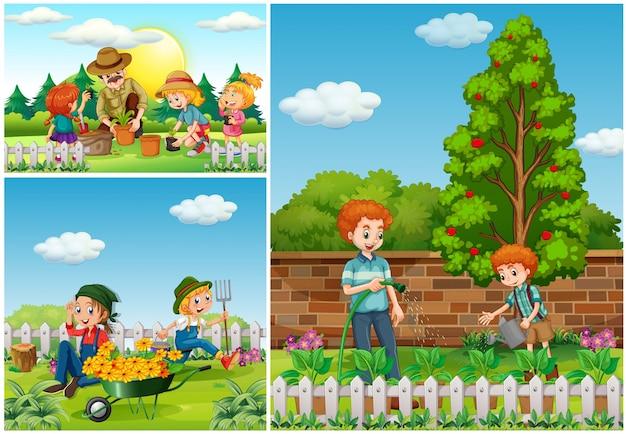 Drie scènes met familie bezig met tuinieren