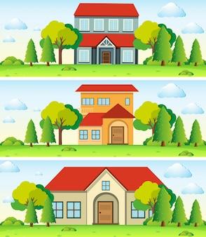 Drie scènes met huis in het veld