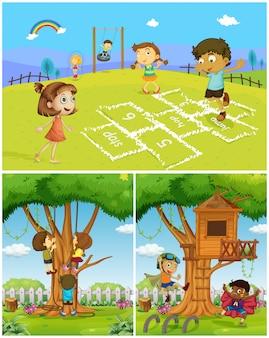 Drie scènes met kinderen die in het park spelen