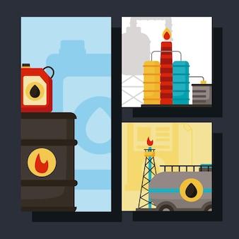 Drie scènes uit de olie-industrie