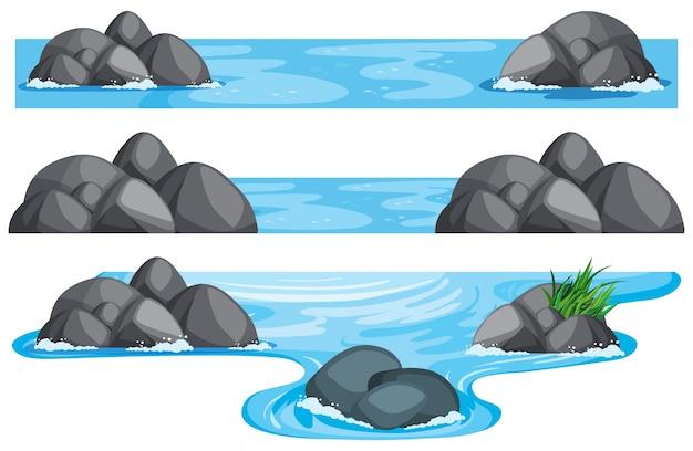 Drie scènes van rivier en meer