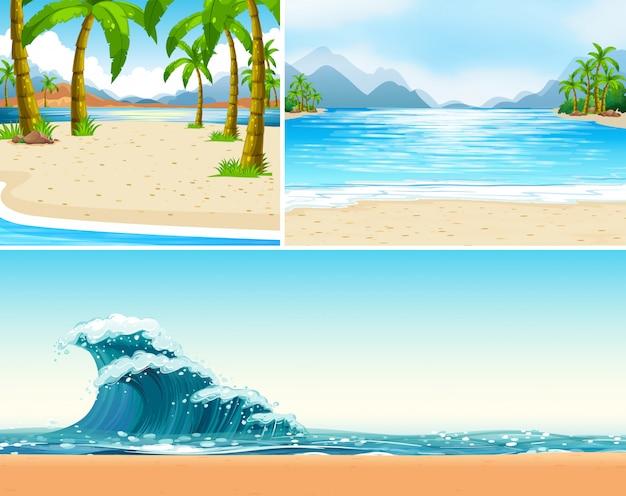 Drie scènes van strand en oceaan