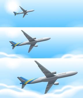 Drie scènes van vliegtuig vliegen in de lucht