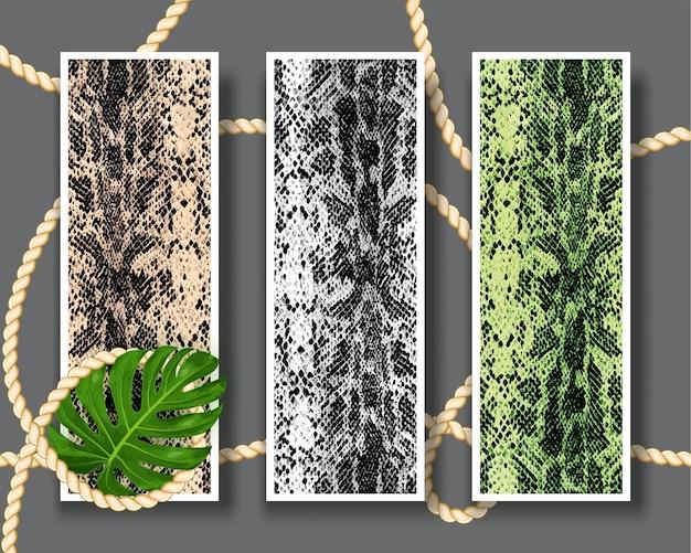 Drie schaamteloze slangenhuid patroon textuur