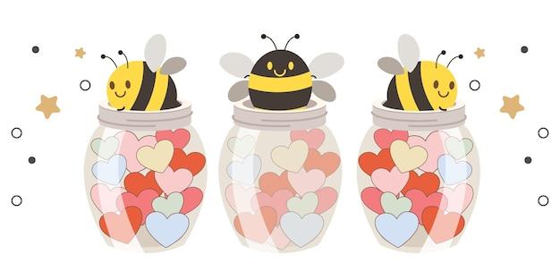 Drie schattige bijen in glazen potten gevuld met kleurrijke harten op witte achtergrond afbeelding