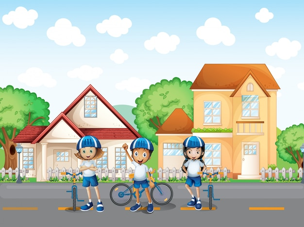 Drie schattige fietsers op de weg