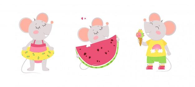 Drie schattige muisjes eten ijs, dragen een zwemring, eten een watermeloen. zomer karakters.