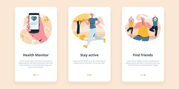 Drie schermen voor mobiele senioren wellness-app die een gezondheidsmonitoring illustreren