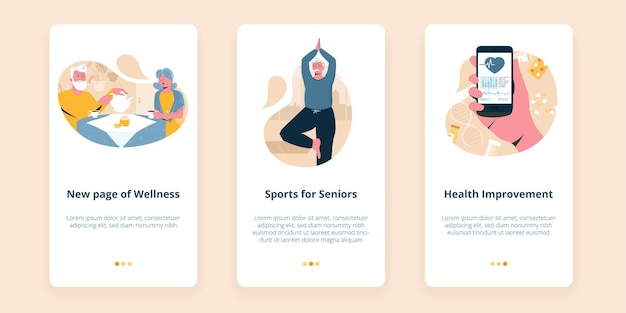 Drie schermen voor mobiele senioren wellness-app die sportactiviteiten voor ouderen illustreert