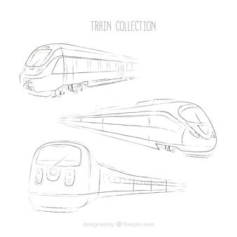 Drie schetsen van moderne trein
